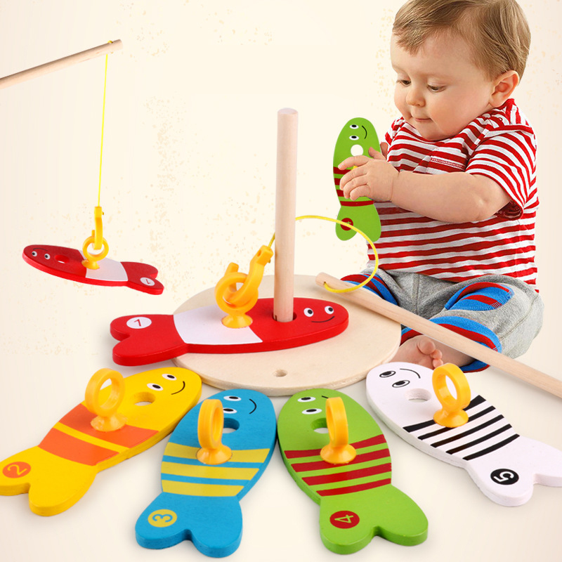 8Pcs/Set Colorful Wooden Fishing Digital Toys Baby Kids Fish Set Column Blocks Game Children Cute Early Educational Cartoon Toy new 14 fishes 2 fishing rods wooden children toys fish magnetic pesca play fishing game tin box kids educational toy boy girl