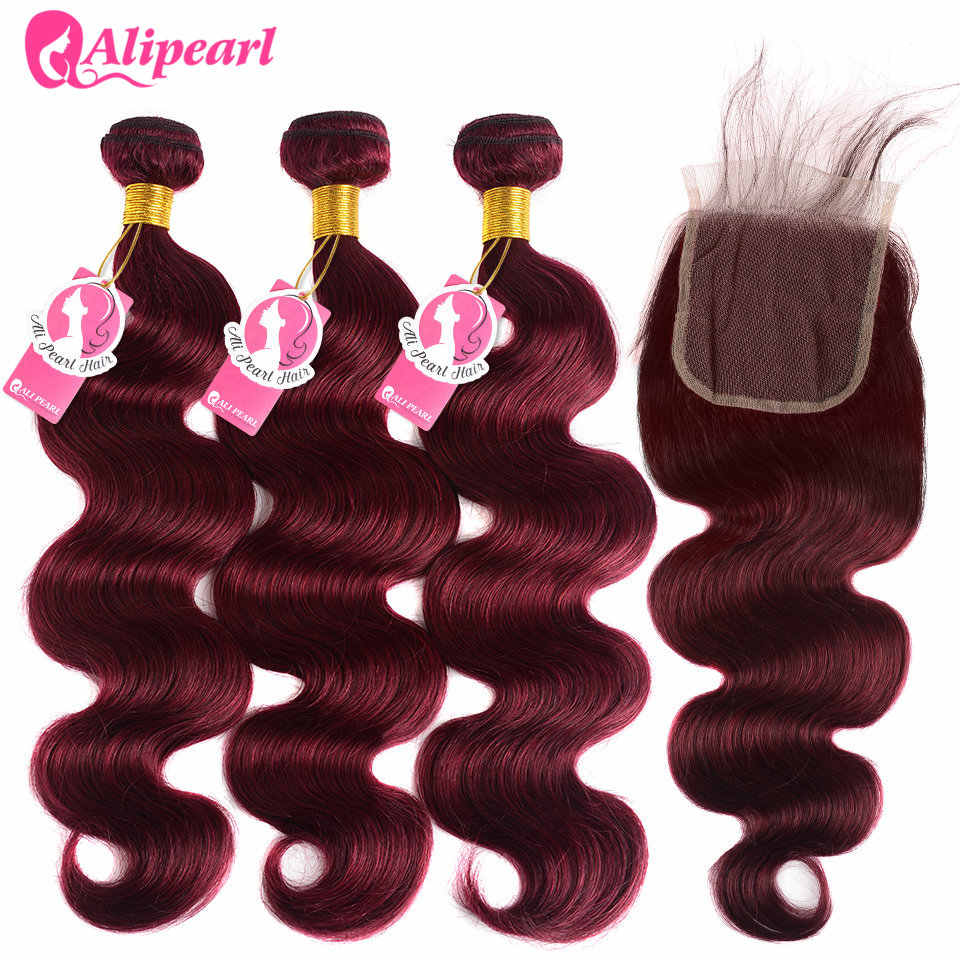 Ali Pearl 99j Bundles With Closure Brazilian Hair Weave Bundles Burgundy Body Wave 3 Bundles With Closure Remy Hair Extension