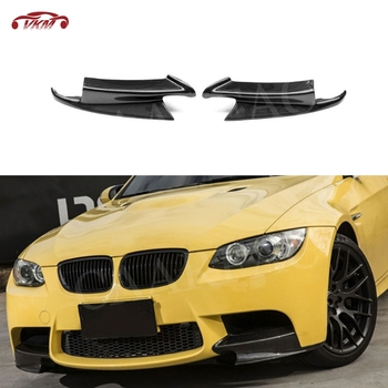 For E92 Front Bumper Lip Splitters Flaps Spoiler for BMW 3 Series E92 E90 E93 Real M3 2007 - 2013 Carbon Fiber FRP Head Cupwings image