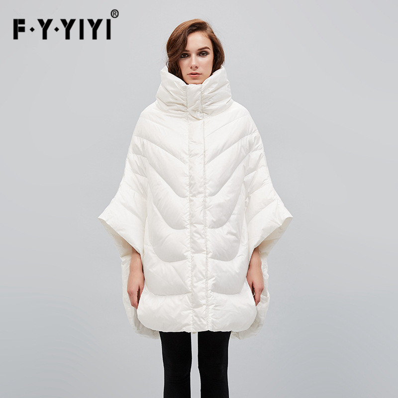 FYYIYI long   down     coat   for woman Cloak long section of the European American style high collar loose   down   jacket women Bat type