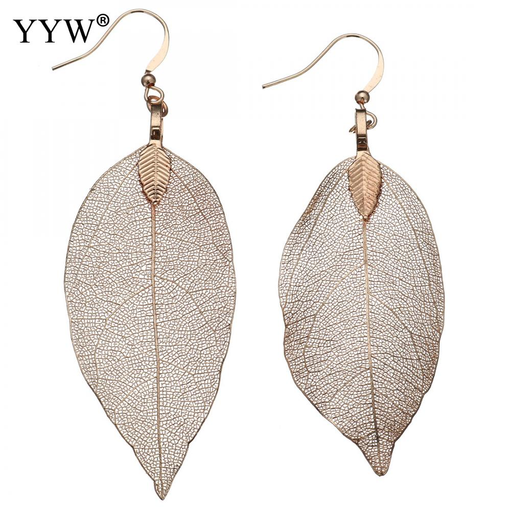 2018 Fashion Filigree Bohemian Long Earrings Unique Natural Real Leaf Big Earrings For Women Fine Jewelry Gift Jewelry