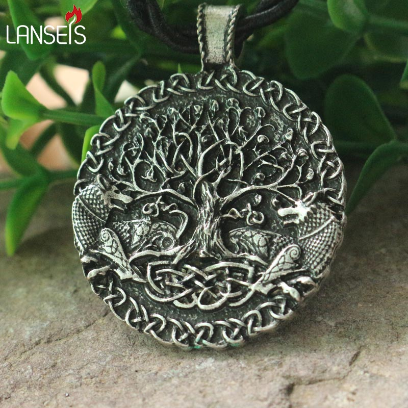 lanseis 1pcs Two wolves sigil commissioned Celt wolf pendant two wolves tree of life and world tree jewelry viking men necklace