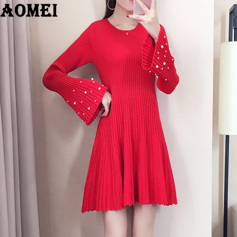 Women Winter Christmas Sweater Red Dress Knitted Pullover with Bead Elegant A Line Pleated Stretched Fall Fashion Femme Jumper