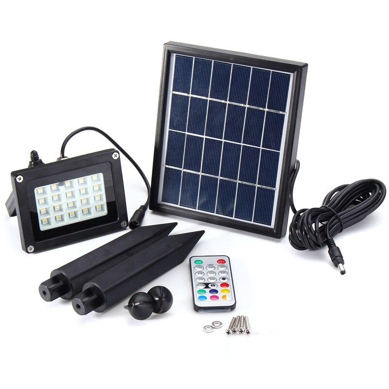 3,7 В RGB LED прожектор солнечной энергии с Цвет дистанционное изменение Управление Открытый Пейзаж сада Безопасность лампы IP65
