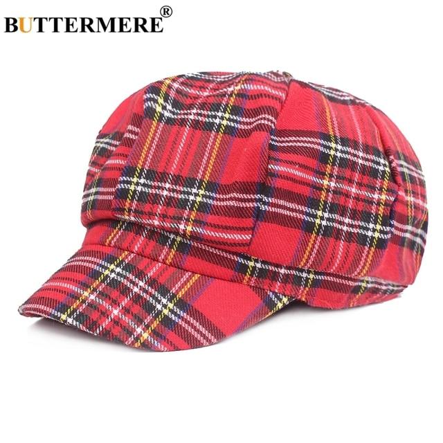 BUTTERMERE Plaid Newsboy Caps For Women Cotton Red Octagonal Hat Female Vintage  Painter Hat Casual Ladies Summer Eight Piece Cap