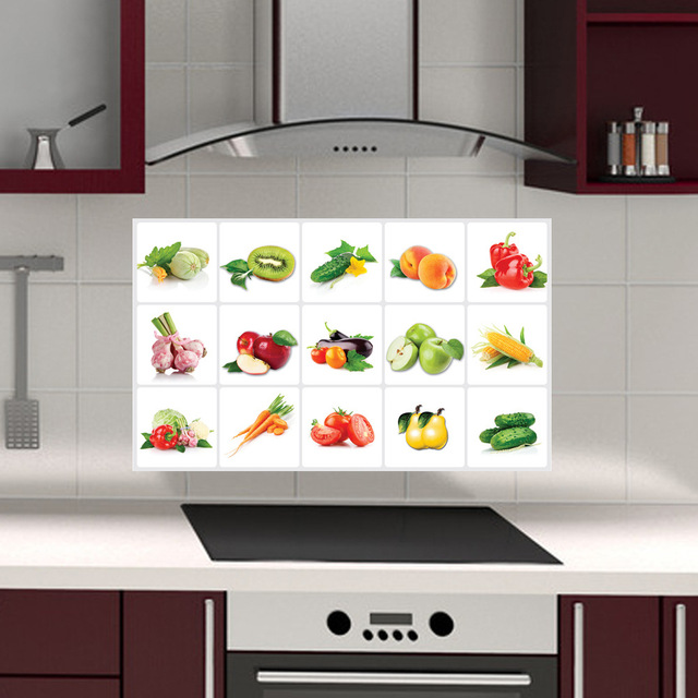 Love Cosy Fruits And Vegetables Kitchen Oilproof Wall Stickers Pvc Anti Grease Aluminum Foil Sticker