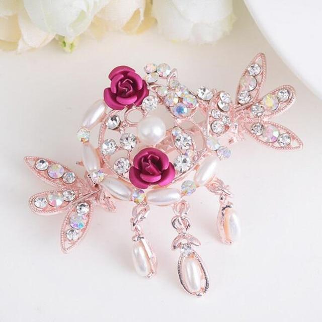 New Style Imitation Pearls Rhinestone Crab Hair Claw Flower Hair Pins  Bridal Hair Accessories Hair Clips For Women tiaras 39cf8bdc491b