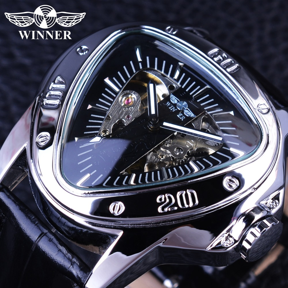 Winner Creative Racing Design Triangle Design Silver Skeleton Dial Mens Watch Top Brand Luxury Automatic Mechanical