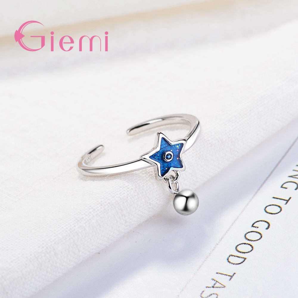 Новое поступление, модное красивое серебряное регулируемое кольцо с синими звездами 925 пробы для женщин, украшения для банкета