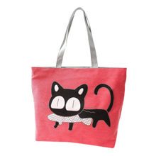 CONEED Cute Cartoon Cat Canvas Shoulder Bag Messenger Shopping Storage Bag for Clothes Sundries Drop Shipping Happy Sale ap629(China)