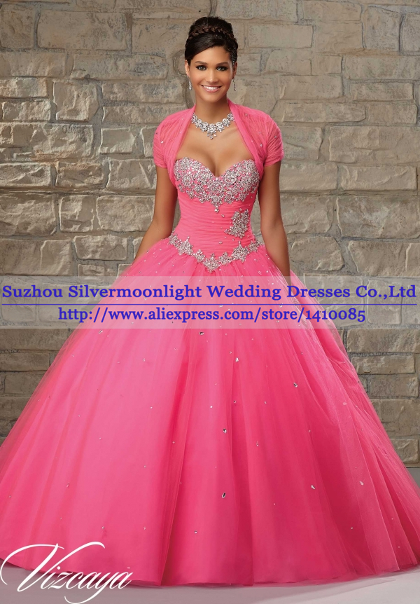 Sweet Sixteen Dresses 2015 New Arrival Beautiful Beaded Hot Pink ...