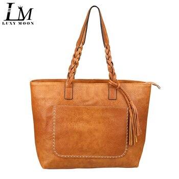 European Luxury PU Leather Tote Handbags for Women Tassel Designer sac a main High Quality Shopping Fashion Shoulder Bag grande bolsas femininas de couro