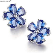 Earrings, 925 Sterling Silver 2017 New Fashion Bling Jewelry with Blue  Quartz Stone Flower for women E0395