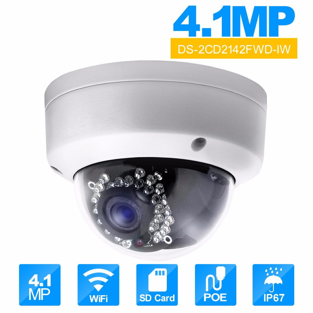HiKvision DS-2CD2142FWD-IW 4mm Wifi Camera 4MP IR Dome Network POE IP camera onvif Wireless Security camera wifi inspection free shipping ds 2cd2442fwd iw english version 4mp ir cube network cctv security camera mini wifi ip camera poe 10m ir
