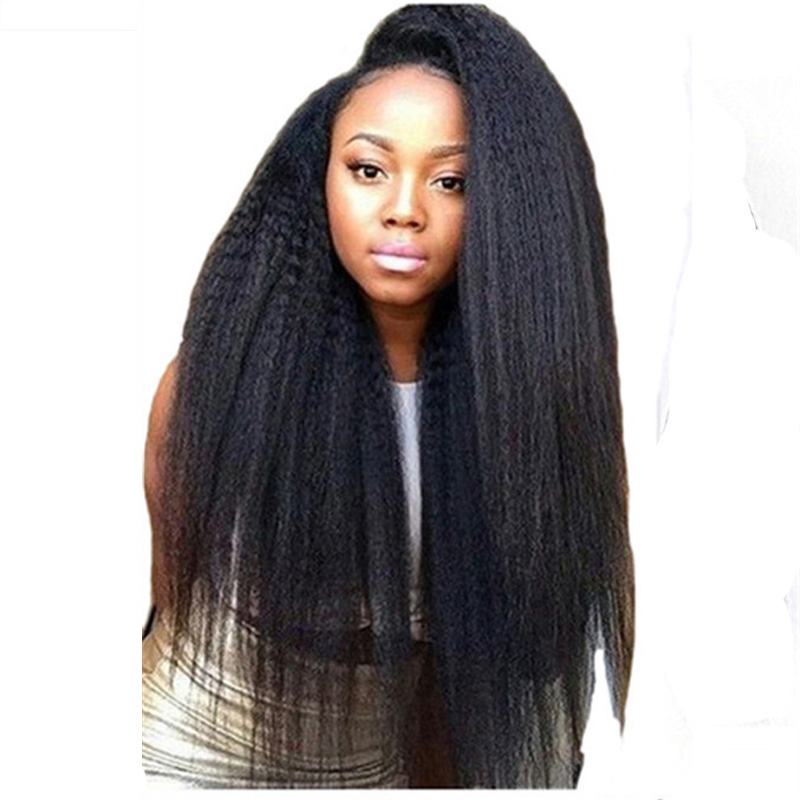 Feibin Lace Front Wig Afro Synthetic Yaki Curly Hair Heat