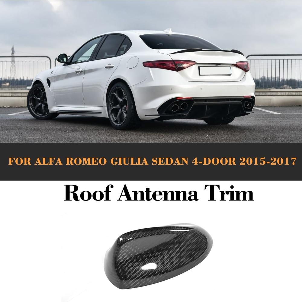 En Fiber De carbone Auto Toit Antenne Extérieur Garniture cas pour Alfa Romeo Giulia 4 Porte 2015 2016 2017 Quadrifoglio TI Voiture autocollant
