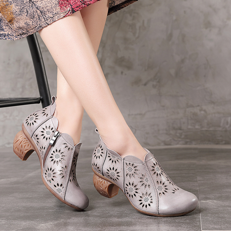 Tyawkiho Genuine Leather Women Pumps Embroidery Gray 6 CM High Heels Hollow Out Summer Shoes 2018 Handmade Retro Leather PumpsTyawkiho Genuine Leather Women Pumps Embroidery Gray 6 CM High Heels Hollow Out Summer Shoes 2018 Handmade Retro Leather Pumps