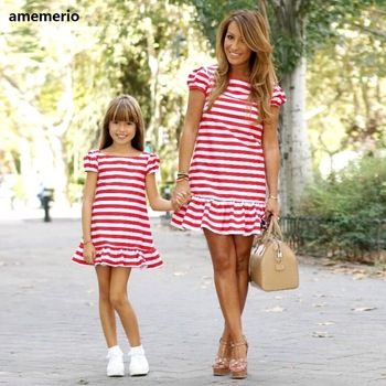 Family Matching Clothes 2019 Striped Mother Daughter Dresses Short Sleeve Girl Big Sister Mother Kids Matching Family Clothes 1