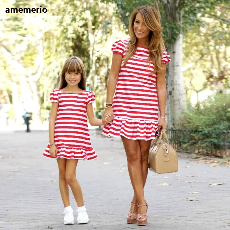 Family Matching Clothes 2019 Striped Mother Daughter Dresses Short Sleeve Girl Big Sister Mother Kids Matching Family Clothes