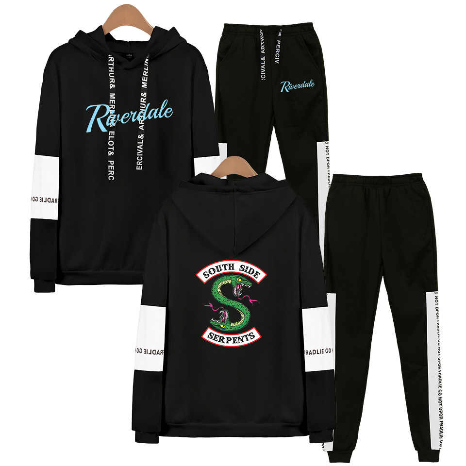 TV Riverdale Hoodies Sweatshirt + Sweatpants Suits Men Women Streetwear Hip Hop Southside Riverdale Two Piece Set Autumn Winter