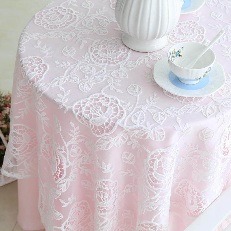 White lace & pink backing wedding table cloth mat ...