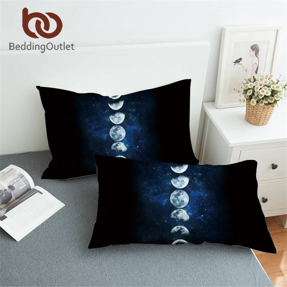BeddingOutlet Moon Eclipse Changing Pillowcase Galaxy Printed Pillow Case 3D Landscape Bedding Pillow Cover Luxury 50x75 50x90cm