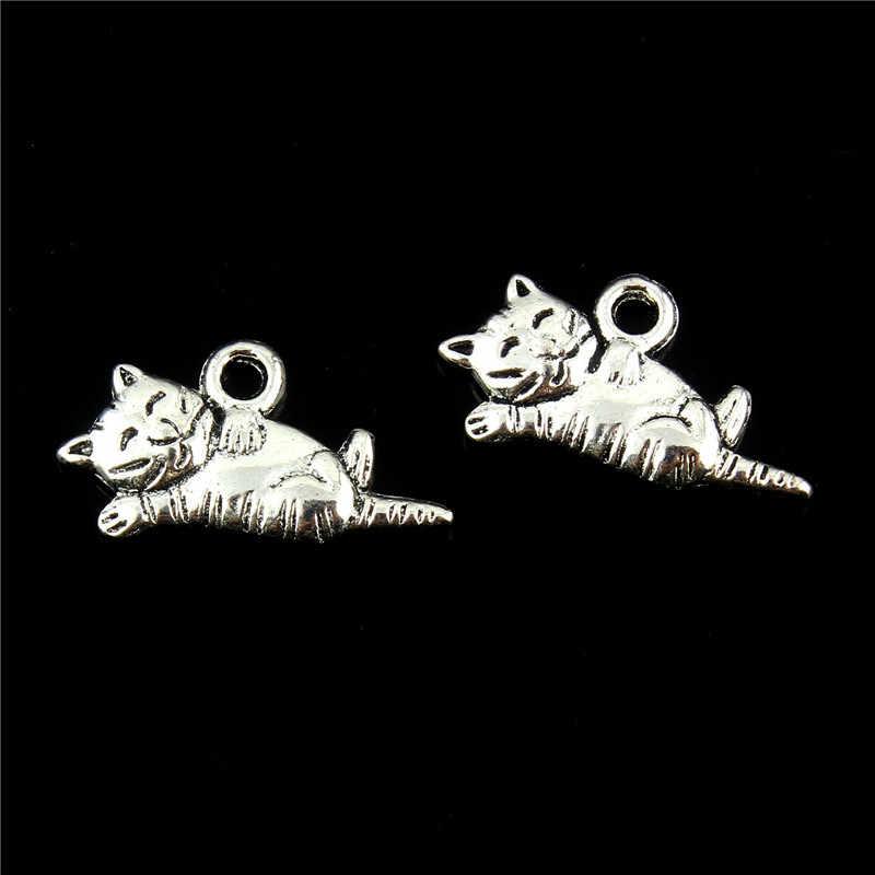 10 個 20*9 ミリメートル猫チベットシルバーハンドメイド Diy レトロ宝石ビーズチャームペンダントフィットブレスレットネックレスキーホルダーペンダント