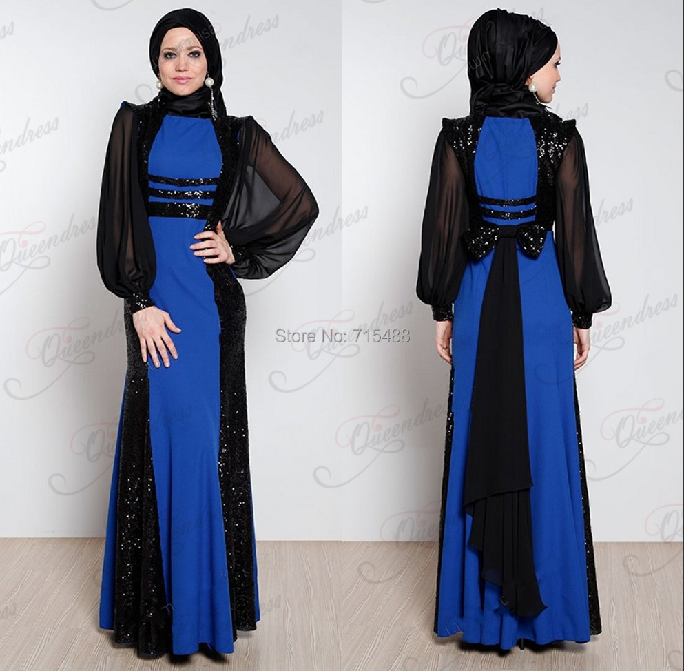Hijab Long Sleeve See Sequins Muslim Caftan Imported Prom Gowns Elegant Chiffon Cheap Evening Dresses - Wedding Miss U store