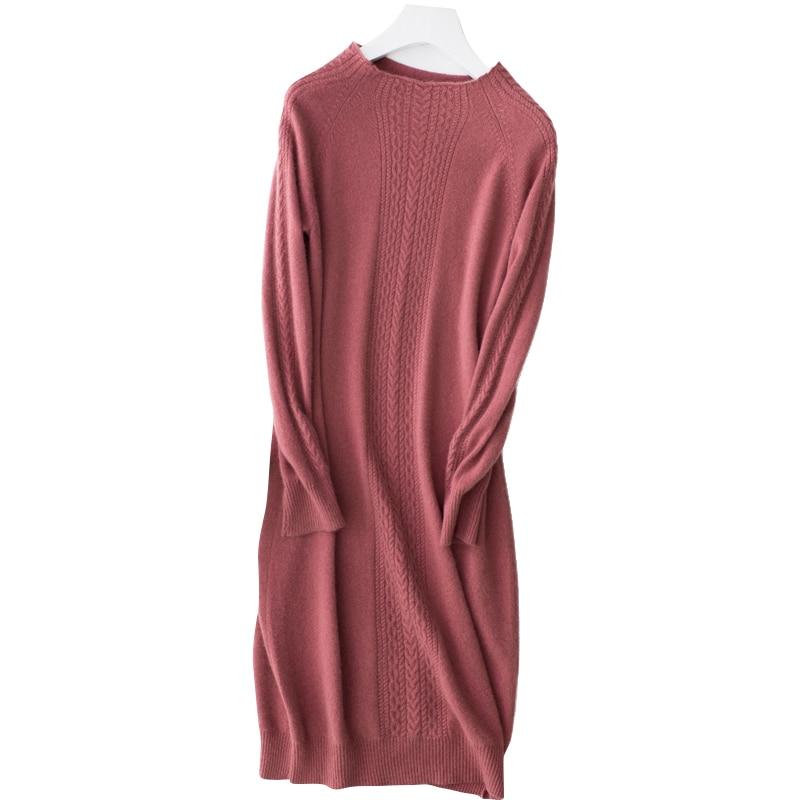 Kobiety sukienka 2019 nowy sweter z czystego kaszmiru kobiet miękkie i wygodne O neck swetry kobiety moda długi sweter z dzianiny w Pulowery od Odzież damska na  Grupa 1