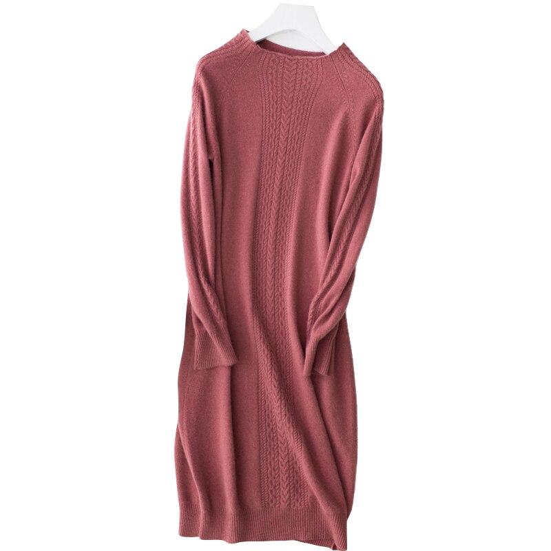Vestido de mujer 2019 nuevo suéter de cachemira pura mujer suave y cómodo cuello redondo jerseys mujer moda suéter tejido largo-in Pulóveres from Ropa de mujer    1
