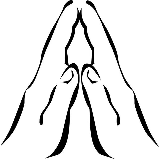 9 5cm 9 5cm praying hands prayer vinyl cartoon stickers decals black