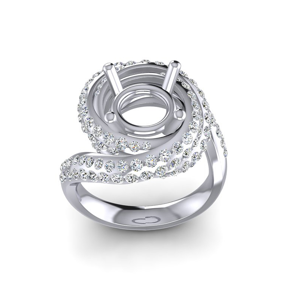 Caimao Nieuwe Ontwerp 8.5mm Ronde 14k White Gold 1.15ct Natuurlijke Full Cut Diamond Prong Ring - 2