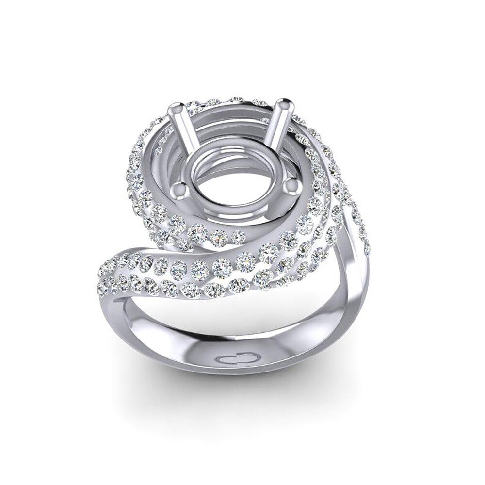 Caimao Nuovo Disegno 8.5 millimetri Rotonda 14k White Gold 1.15ct Naturale Completa Cut Diamond Prong Anello - 2