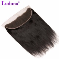 Luduna Peruvian Straight Hair Lace Frontal Closure 13x4 Ear To Ear With Baby Hair 100% Non-remy Human Hair Bundles Free Shipping