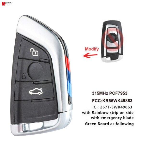 Keyecu New Silver Smart Remote key Fob 3 Button 315MHz 433MHz for BMW F Series CAS4