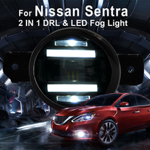 цена на 2011-2013 For Nissan sentra led fog lights+LED DRL+turn signal lights Car Styling LED Daytime Running Lights LED fog lamps