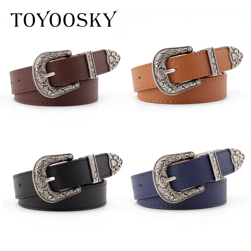 2019 Women Belt PU Cowgirl Waistband Carve Pattern Solid Long Belt for Jeans High Quality Belts for Female cinturones para mujer