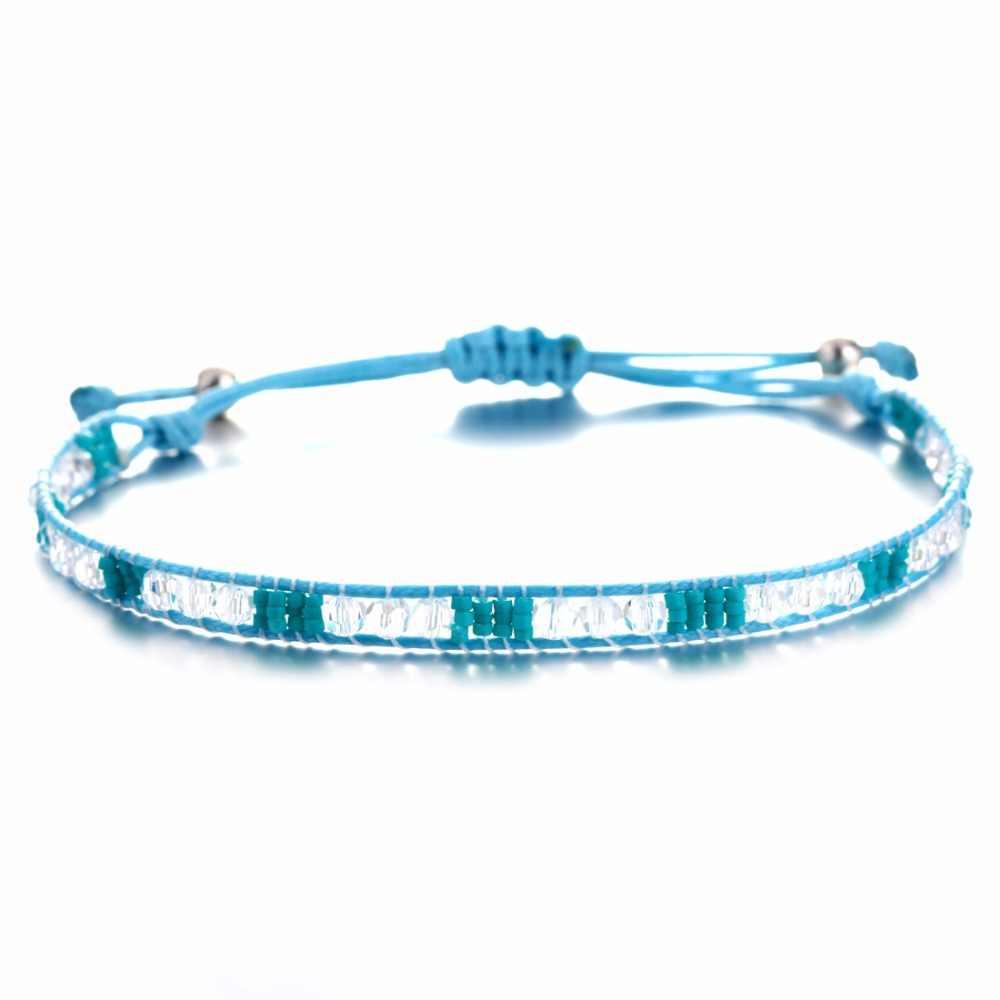 Czechy koraliki kwadratowe kolor liny bransoletki przyjaźni dla kobiety mężczyźni bawełna Handmade Charm bransoletki i bransolety etniczne biżuteria prezenty