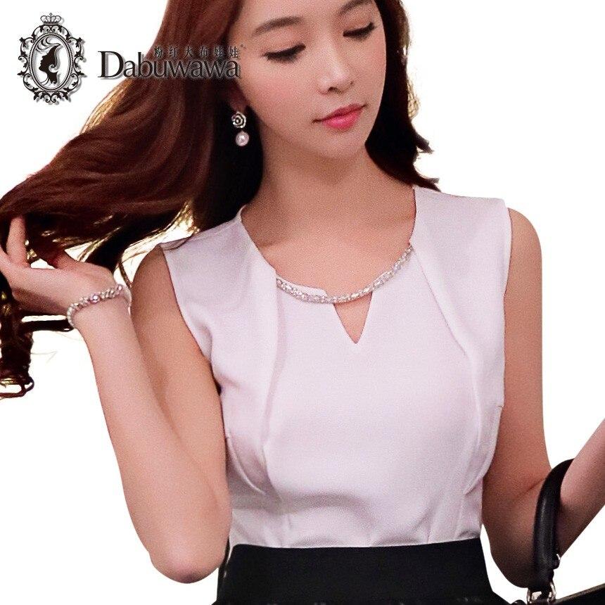 Dabuwawa Brand Women Top Sleeveless Blouse Work Office Clothes New Fashion Cool Blouses Ladies Chiffon Shirt Tops #D16BST082