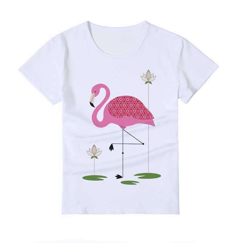 28435af3a Summer Painted heat transfer Flamingo Kids T shirt Round Collar Popular Short  Sleeves boy/girl