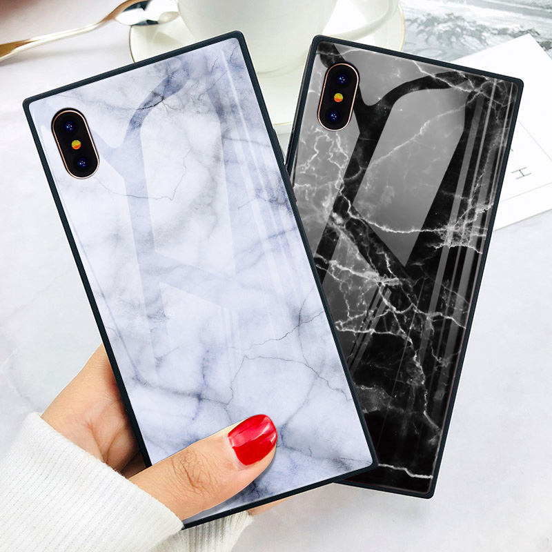TOMKAS Black Luxury Marble Phone Case for iPhone 6 6s X Xs Glass Back Cover Case for iPhone 7 8 Plus Silicone Square Shockproof  (9)
