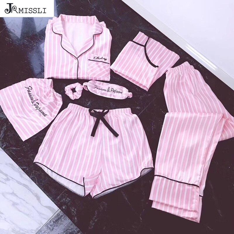 JRMISSLI brand womens 7 pieces Pink pajamas sets satin silk lingerie homewear sleepwear pyjamas set pijamas for woman ...