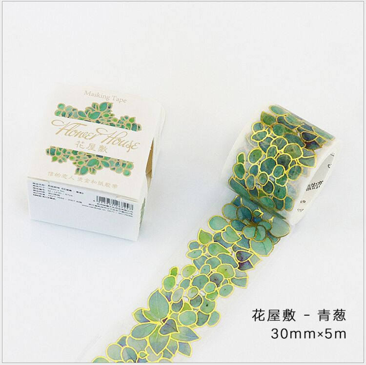 Gold Foil Green Plant Fallen Branch Autumn Leaves Succulent Garland Greenhouse Washi Tape DIY Planner Scrapbooking Masking Tape