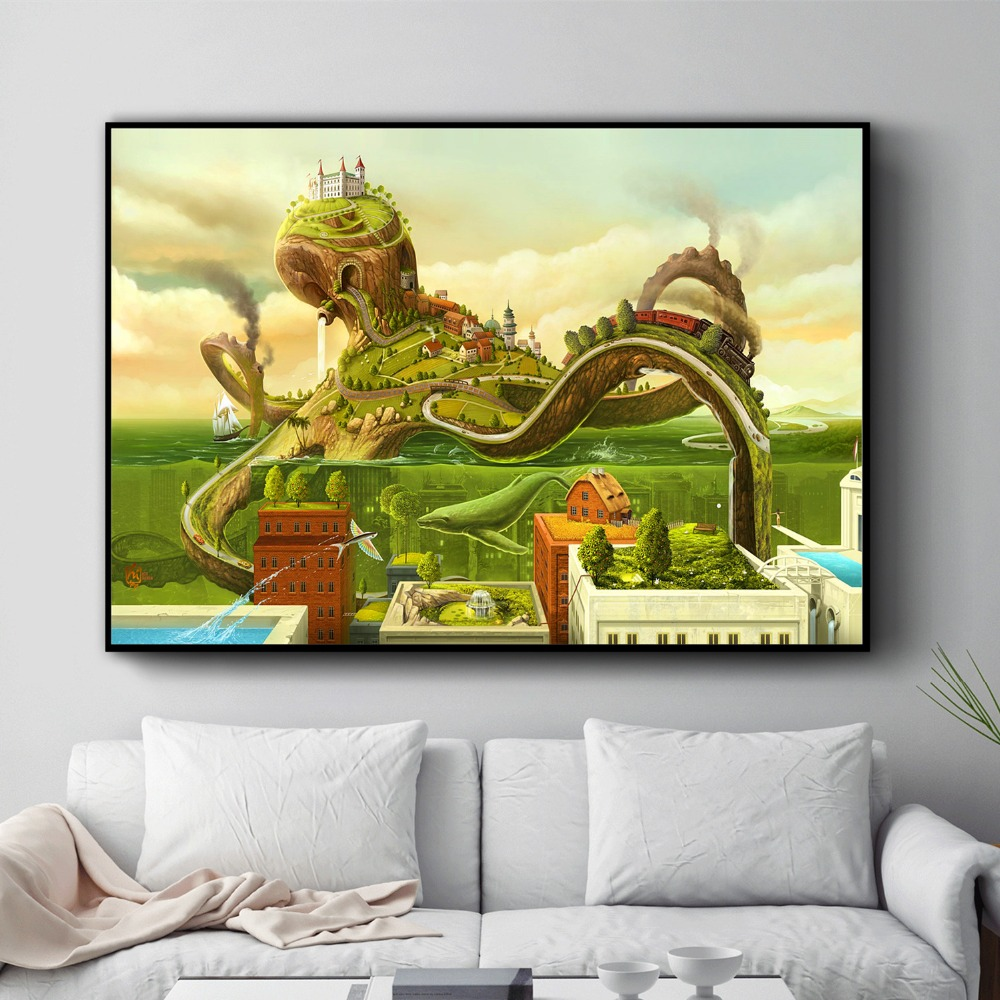 Surreal City Chess Beach Set Wall Art Canvas Painting Poster Prints Pictures For Living Room Decoration Home Oil Paintings Decor 2