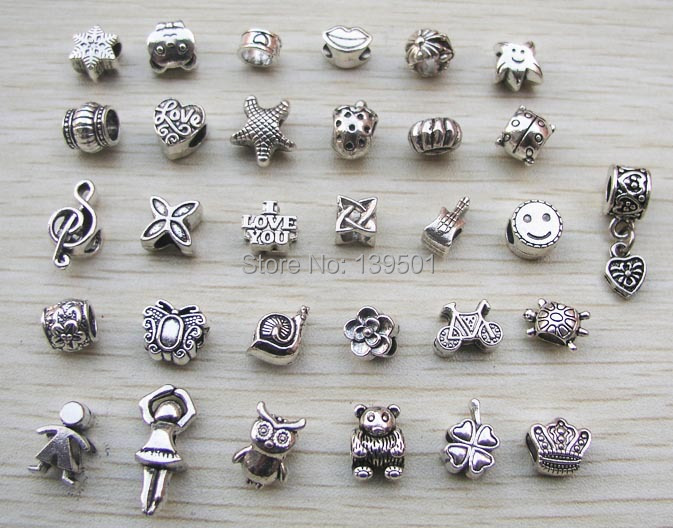 Beads The Best 50 Pcs Random Mix Styles Antique Silver Color Alloy Beads Bracelet Anklet Accessory Hot Online Discount