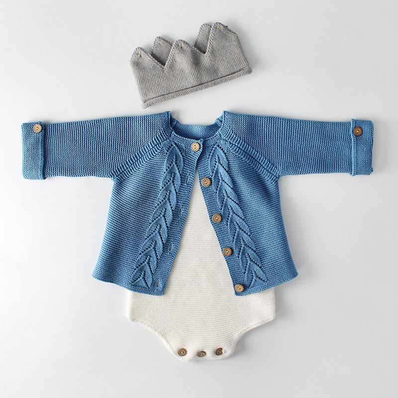 fae7e7f9f3e Baby Girls Clothes Autumn Baby knitted Romper Set Infant Newborn Baby Girl  Cardigan Boys Sweater Cotton Baby Jumpsuit For Girls