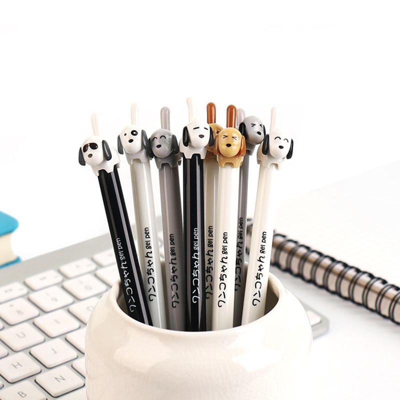 2 Pcs/lot Lovely Press Dog Gel Pens For Writing Cute Cat 0.5 Mm Black Ink Signature Pen School Supplies Stationery Gift Zakka