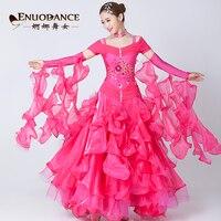 2018 rhinestone modern dance dress embroidered short sleeve dresses