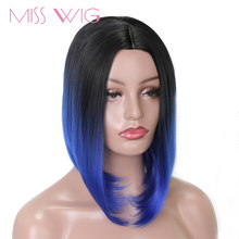 MISS WIG Bob Wig Short Synthetic Wigs For Women Blue Pink Colors Heat Resistant Straight Hair For Women(China)