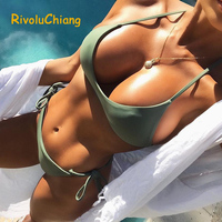 Solid Sexy 2017 Strappy Bottom Scrunch Bandage String Bikini Set Swimsuit Halter Micro Brazilian Thong Swimwear